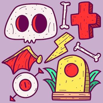 Doodle de desenho animado de halloween