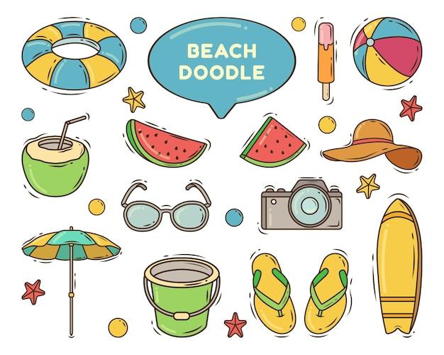 Doodle de desenho animado de praia desenhado à mão