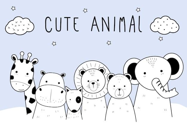 Doodle de desenhos animados animais fofo linha fina