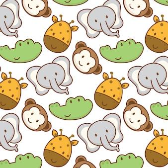 Doodle de desenhos animados de animais fofos