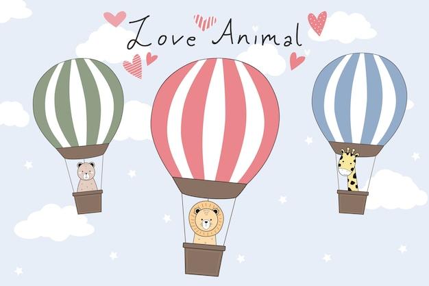 Doodle de desenhos animados de balão de ar quente de animais fofos