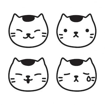 Doodle de desenhos animados de cabeça de gatinho de vetor de gato