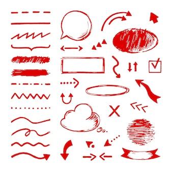 Doodle de destaque. selecionar conjunto de ícones de marcador de seta