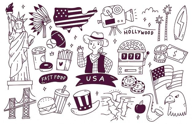 Doodle de destino de viagens da américa
