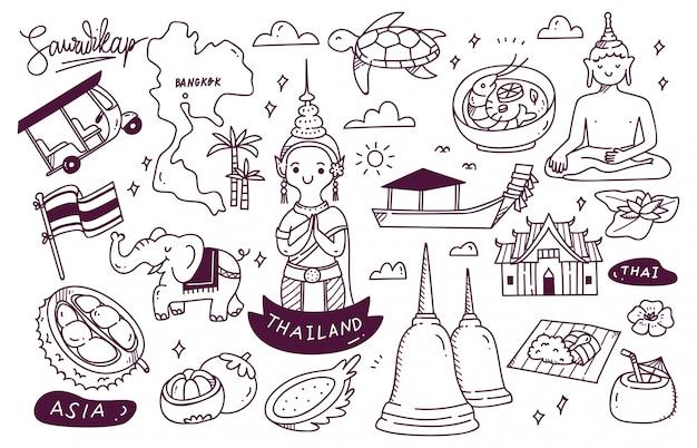 Doodle de destino de viagens tailândia