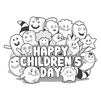 Doodle de dia feliz infantil