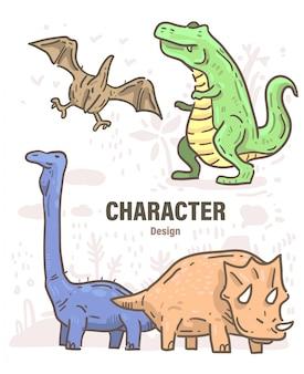 Doodle de dinossauro estilo dos desenhos animados. ilustração de dinossauro