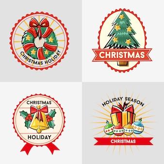 Doodle de distintivo de adesivo de temporada de férias de natal