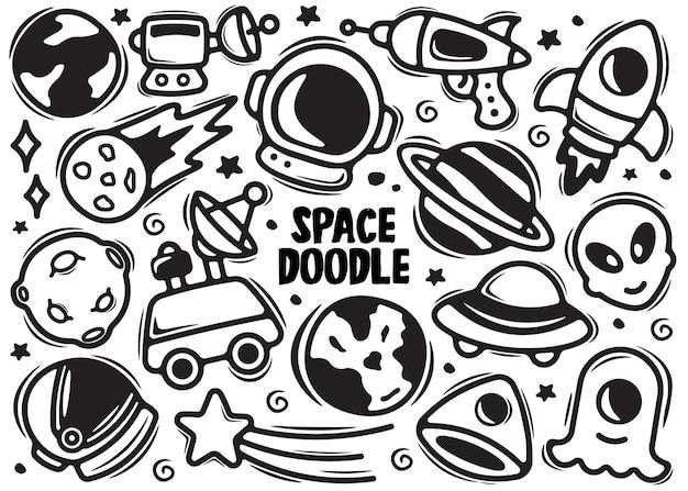 Doodle de elemento desenhado de mão espacial