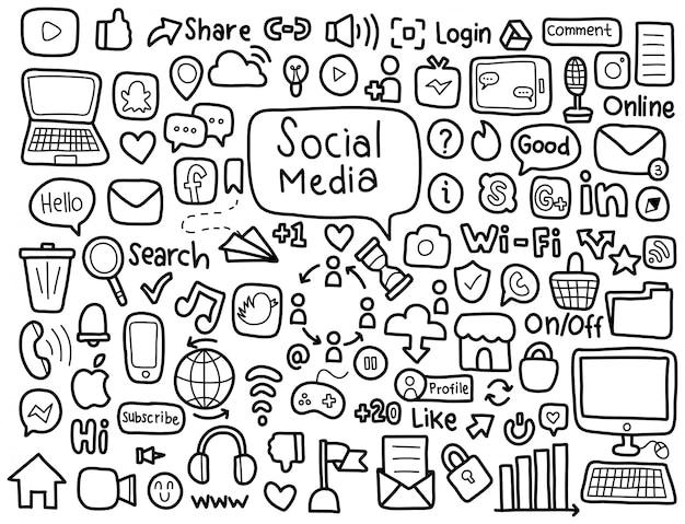 Doodle de elementos de mídia social