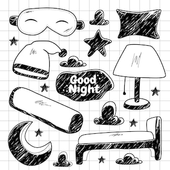 Doodle de elementos noturnos desenhados à mão