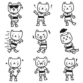 Doodle de emoticon fofo e adorável de mascote de gato expressivo