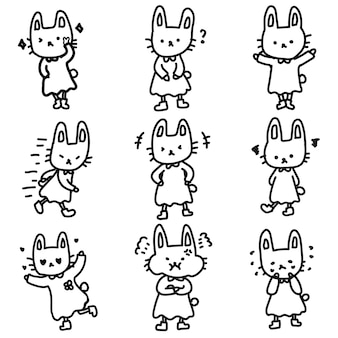 Doodle de emoticon fofo e adorável mascote de coelho expressivo