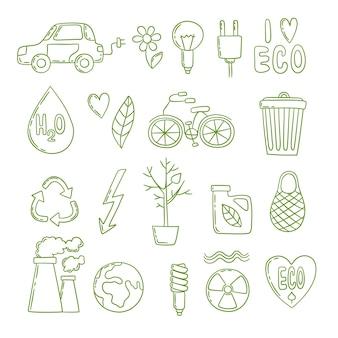 Doodle de energia verde. projeto limpo ecológico de crescimento de co2 de planta de energia global de ambiente limpo. ilustração eco ambiental, conservação e economia de energia