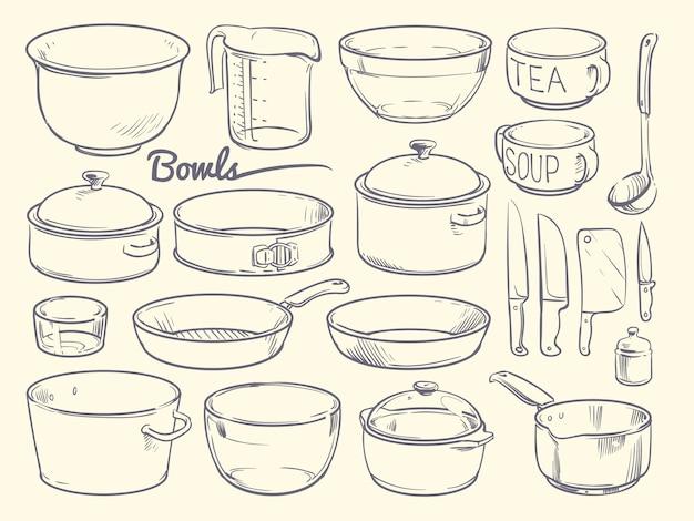 Doodle de equipamentos de cozinha e utensílios de cozinha