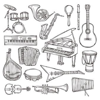 Doodle de esboço de instrumentos musicais