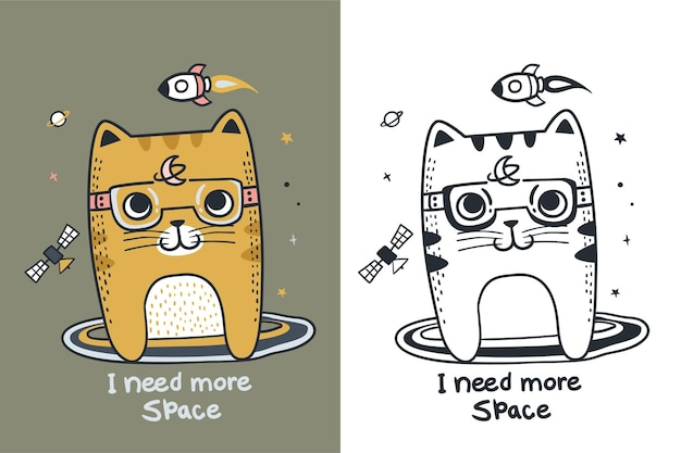 Doodle de espaço de gato fofo exclusivo