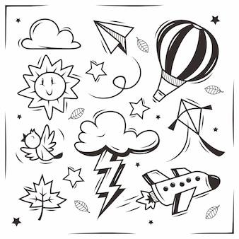 Doodle de espaço desenhado à mão
