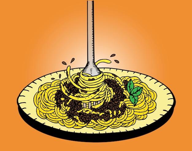Doodle de espaguete, desenho de mão