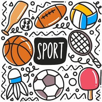 Doodle de esporte desenhado à mão com ícones e elementos de design