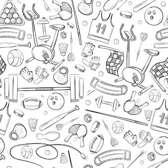 Doodle de esporte e fitness