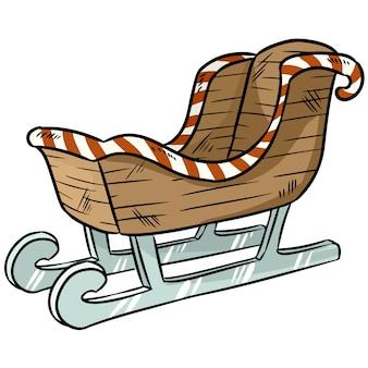 Doodle de etiqueta de trenó de natal