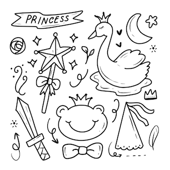 Doodle de fantasia de fada princesa cisne bonito desenho coleção ilustração