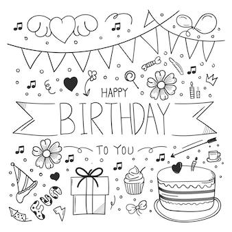 Doodle de feliz aniversário desenhado à mão