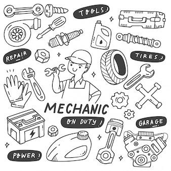 Doodle de ferramentas e equipamentos mecânicos