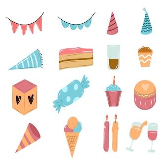 Doodle de festa de aniversário