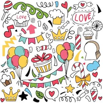 Doodle de festa desenhada de mão