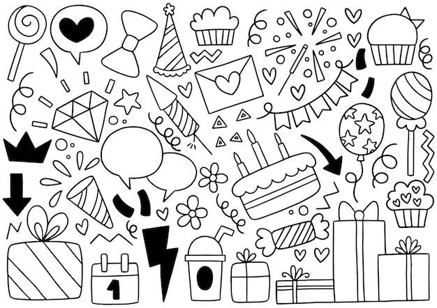Doodle de festa desenhado à mão enfeites de feliz aniversário
