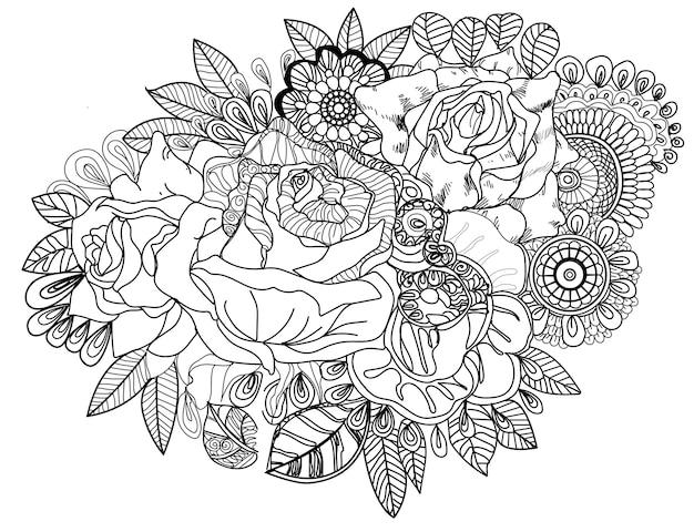 Doodle de flor e rendas