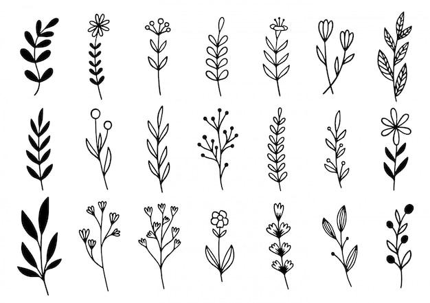 Doodle de flores desenhadas à mão
