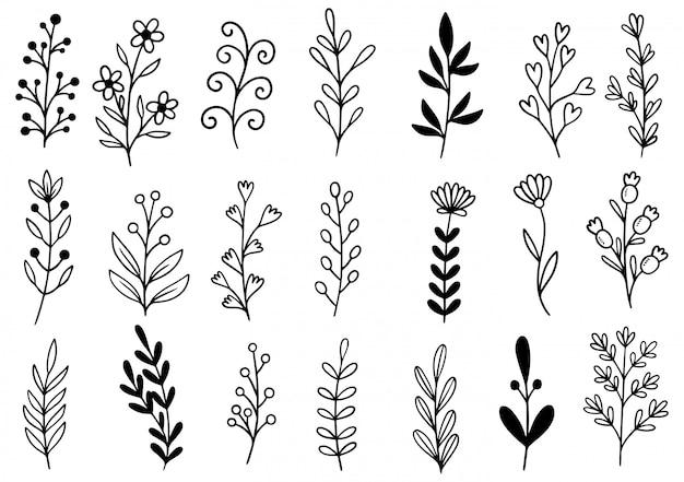 Doodle de flores desenhadas mão