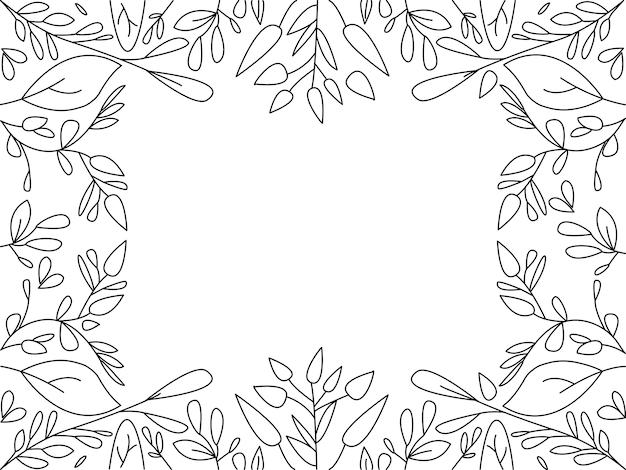 Doodle de folha de quadro. conjunto de coleta de mão desenhada.