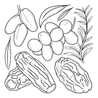 Doodle de frutas tâmaras