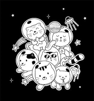 Doodle de gato espacial
