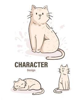 Doodle de gato estilo dos desenhos animados. ilustração de gato