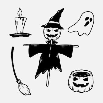 Doodle de halloween com silhueta desenhada à mão
