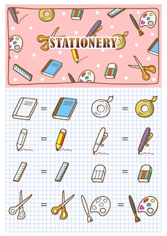 Doodle de ícone de papelaria