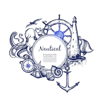 Doodle de ícone náutico marinho composição