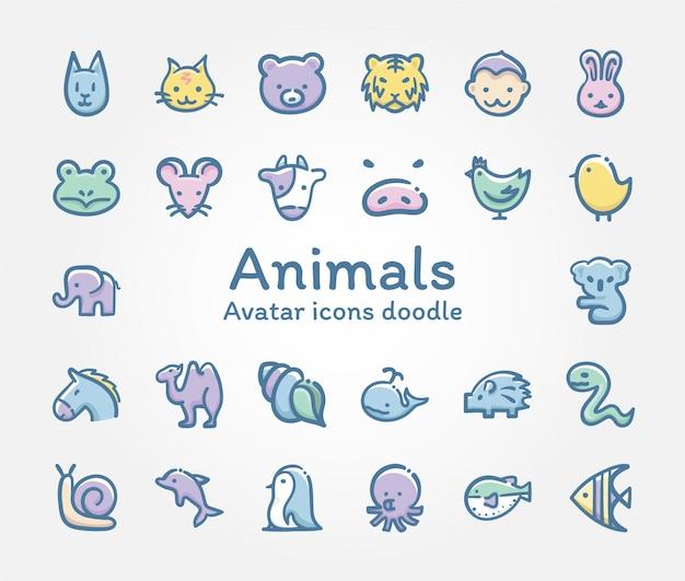 Doodle de ícones do vetor de animais avatar