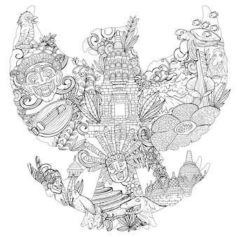 Doodle de ilustração da indonésia com silhueta de pancasila garuda