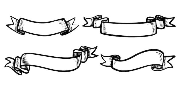 Doodle de ilustrações de banner de faixa de opções isoladas em um fundo branco. mão desenhada ilustração vetorial.