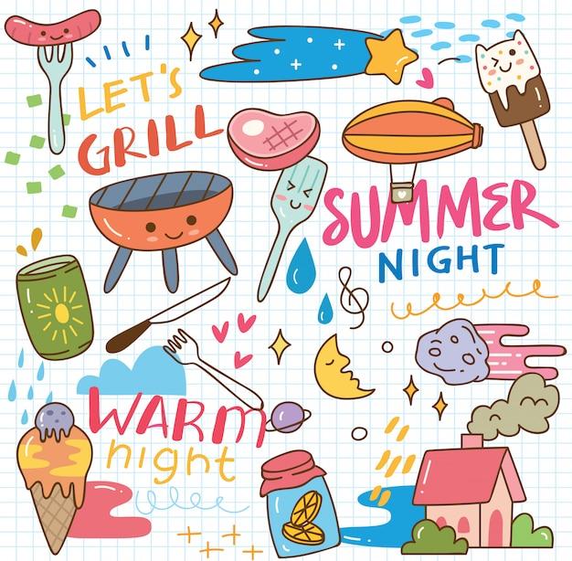 Doodle de kawaii de verão
