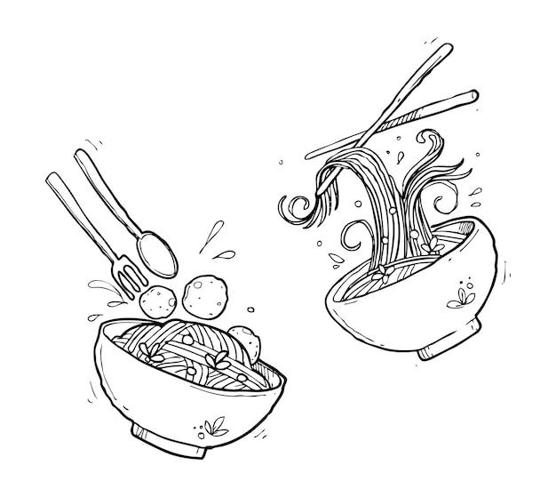 Doodle de macarrão asiático
