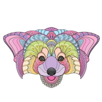 Doodle de mão desenhada doodle zentangle ilustração de panda-vermelho