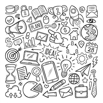 Doodle de mão desenhada ícone de negócios