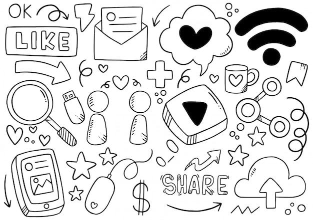Doodle de mão desenhada mídia social
